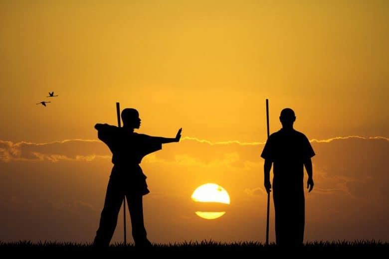 Two kung fu men at sunset