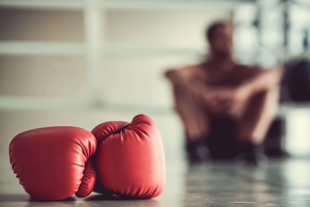 red gloves on floor with boxer sitting in background