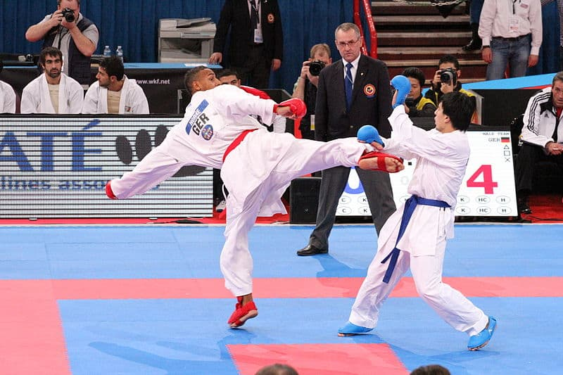 Karate competitor from Germany kicking an opponent