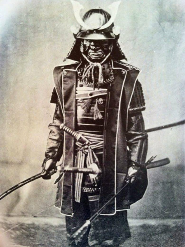 Black & white photo of a masked Samauri Warrior