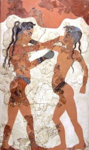 Tomb painting of two young boxers