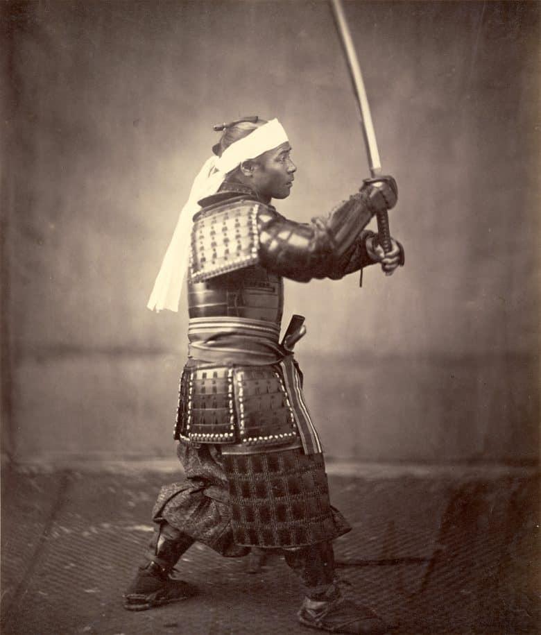 Samurai in old black & white photo