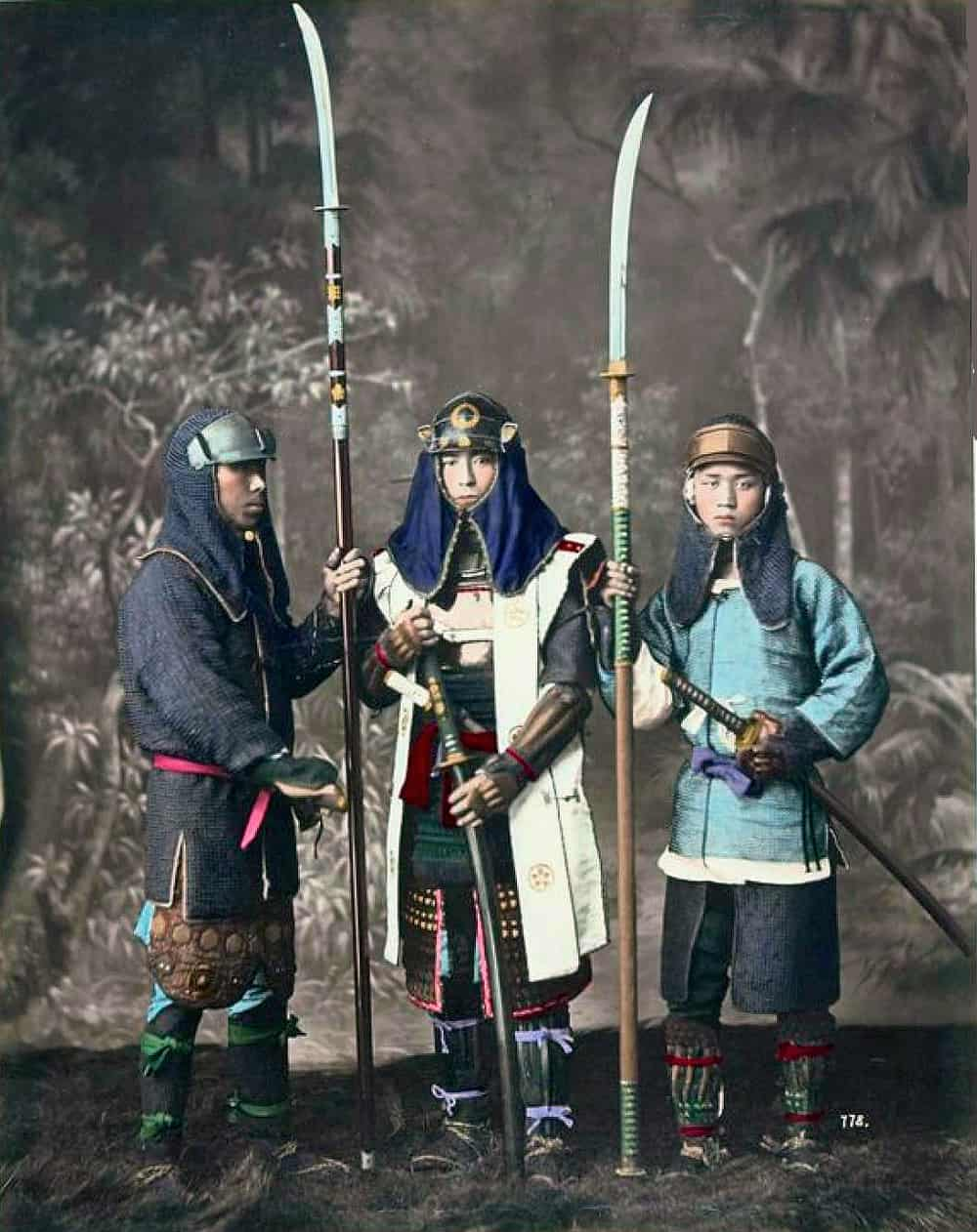 Three Samurai warriors holing Naginatas