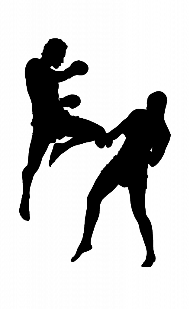 Silhouette of two kickboxers one with a flying knee kick